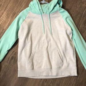Two tone hooded sweatshirt.